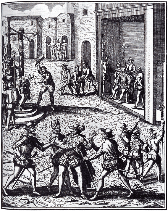 The capture, trial, & execution of Diego de Almagro, depicted by Theodor de Bry