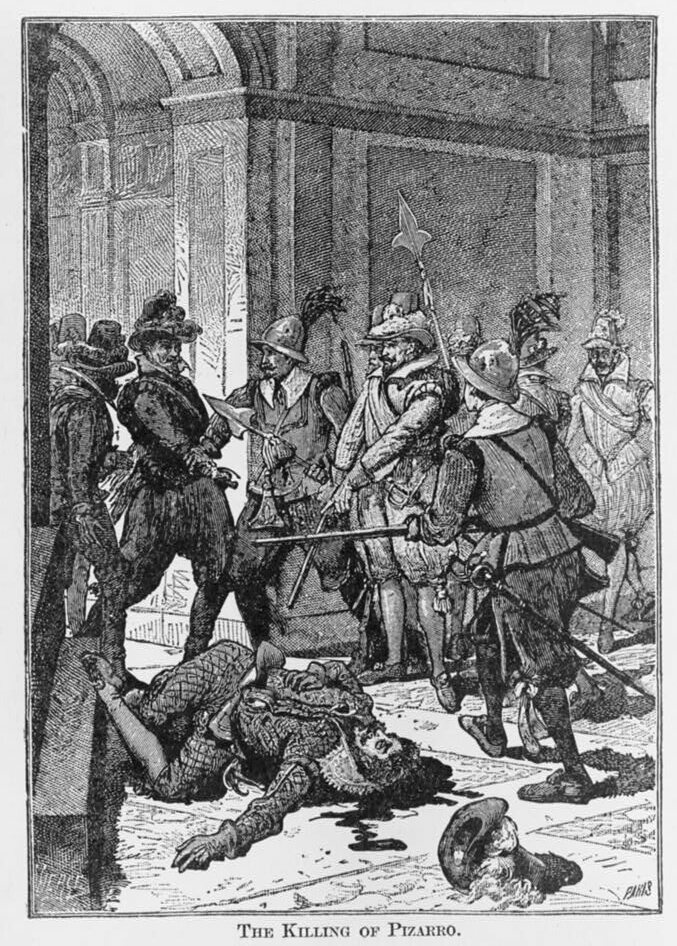 The killing of Pizarro in an 1891 engraving