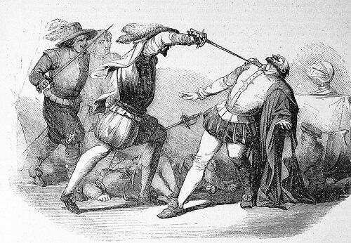 Killing of Francisco Pizarro, illustrated by William Prescott in 1851
