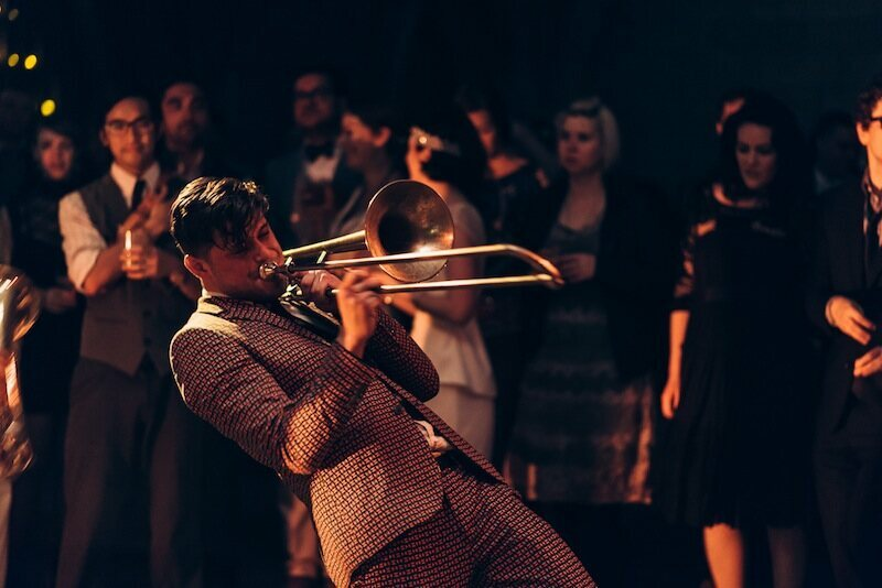 Lucky Chops Brass Band performing at the New York Obscura Society's Cocktails in the Crypt