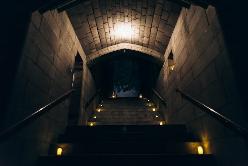 Looking up the stairway from the crypt at Harlem's Church of the Intercession