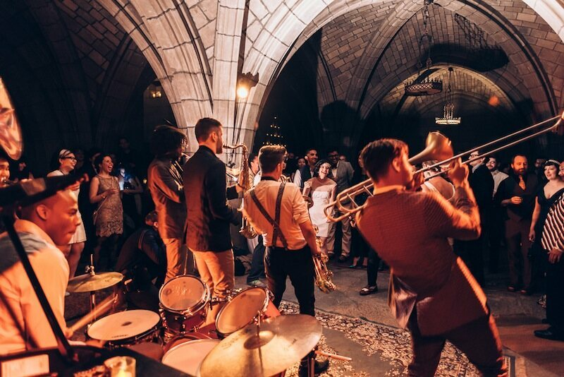 The Lucky Chops Brass Band in the church of the intercession crypt