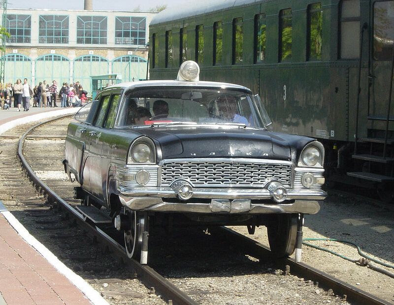 A Gaz M13 — the top-of-the-line Soviet luxury car — modified for railway use