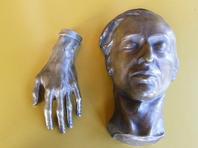 Chopin's hand & death mask at the Hunterian Museum