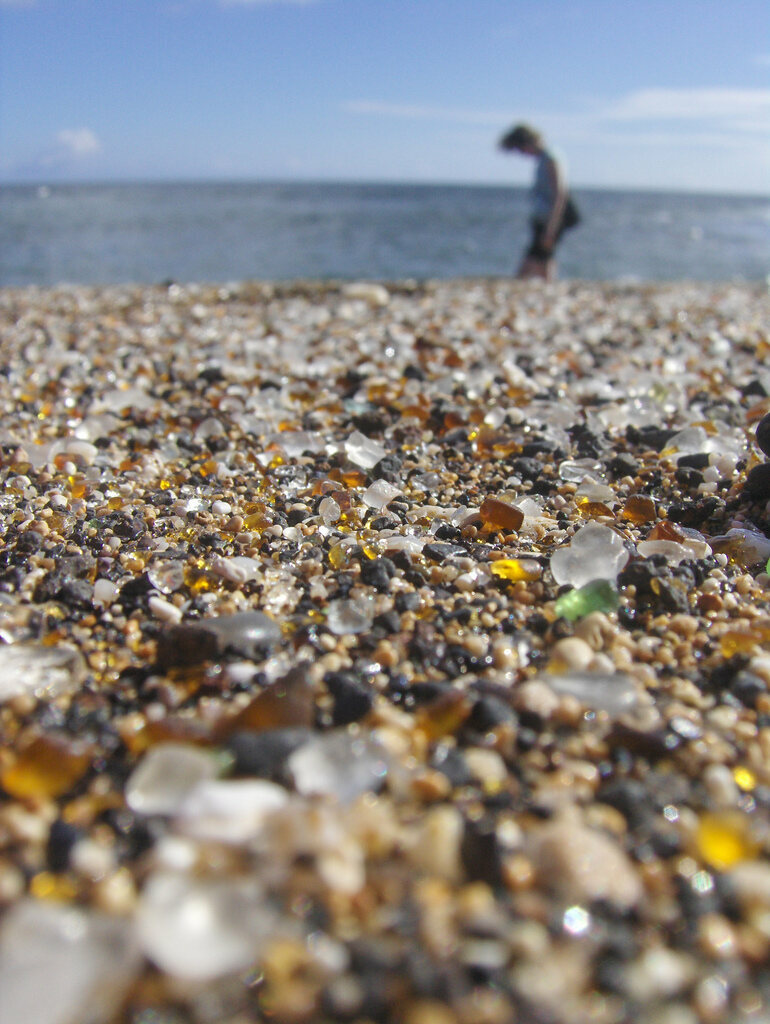 Glass Beach on Kauai, Hawaii, is another former dump site, still at the ocean edge of an industrial area along Hanapepe Bay