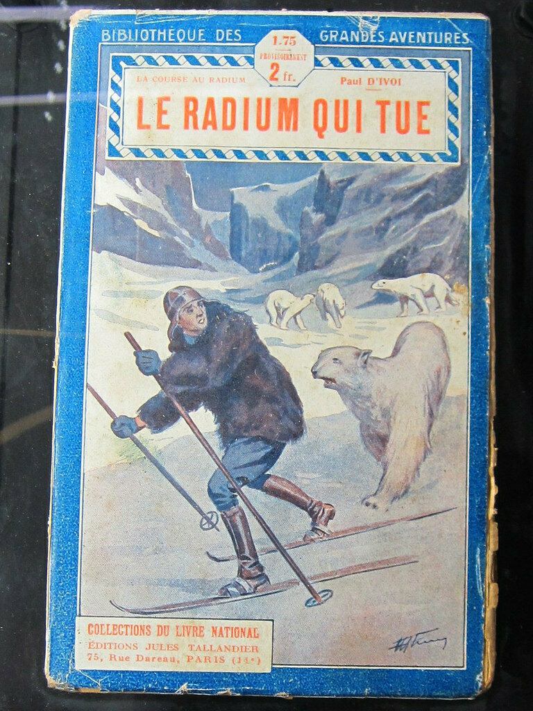 """The Radium That Kills"" book at the Musee Curie in Paris"