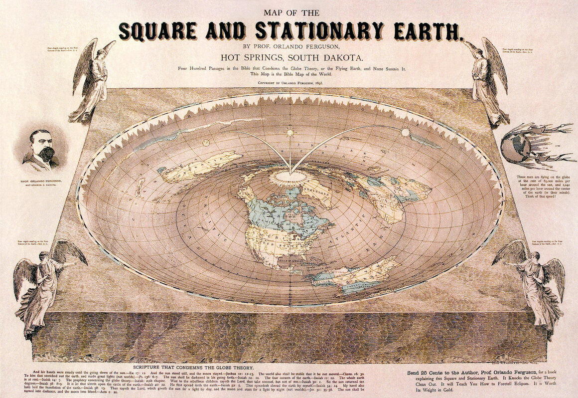 A 19th Century Map of Our Square and Stationary Earth Atlas Obscura