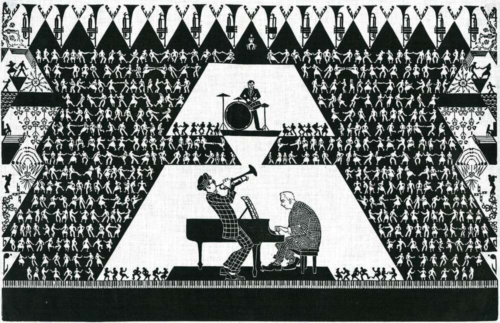 Aino Clarke's <em>Jazz</em>, from 1948, combines expressive characters with geometric precision.