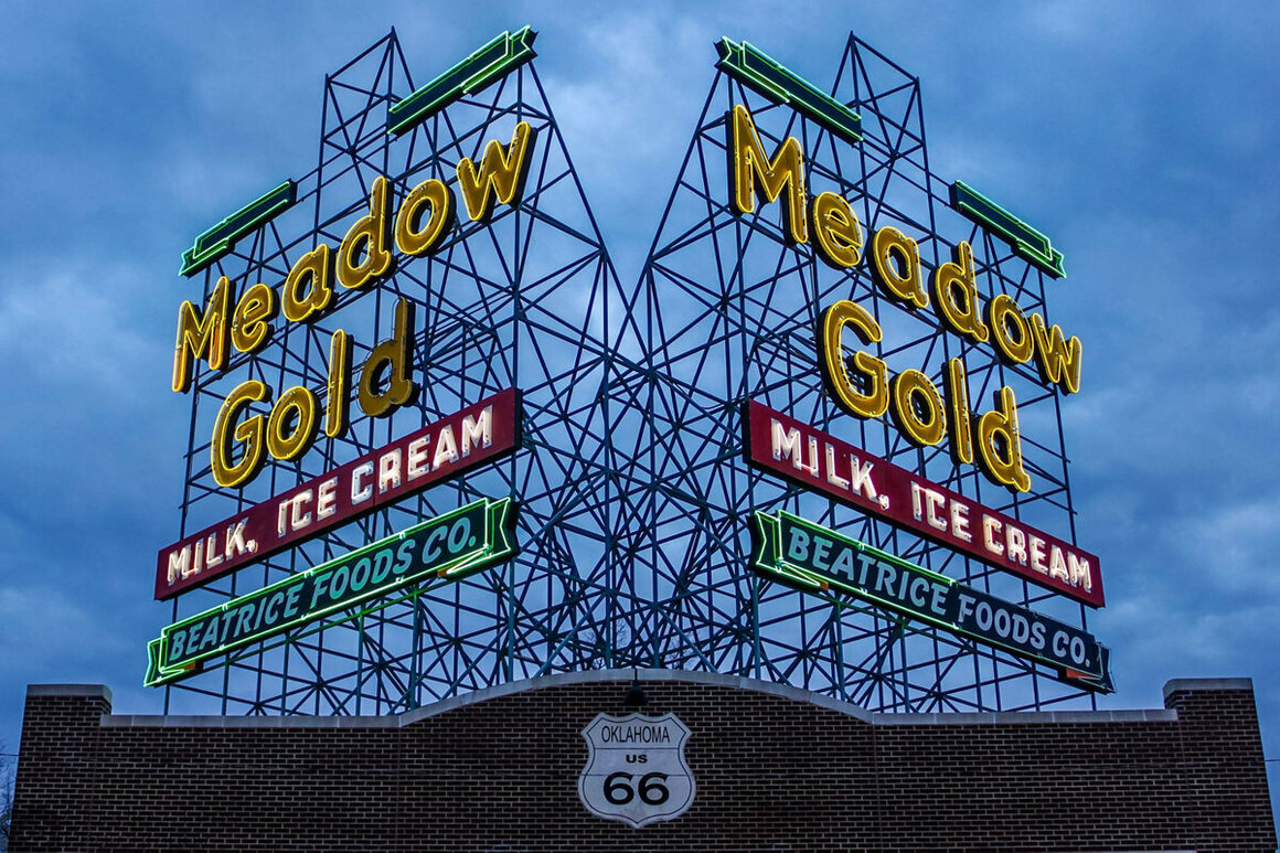 The neon Meadow Gold milk sign in Tulsa, Oklahoma. It was first displayed in 1934 and subsequently refurbished and moved in 2009.