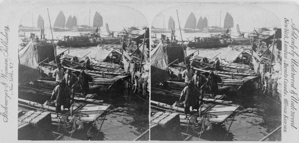A late 19th century stereograph of Hong Kong harbor.