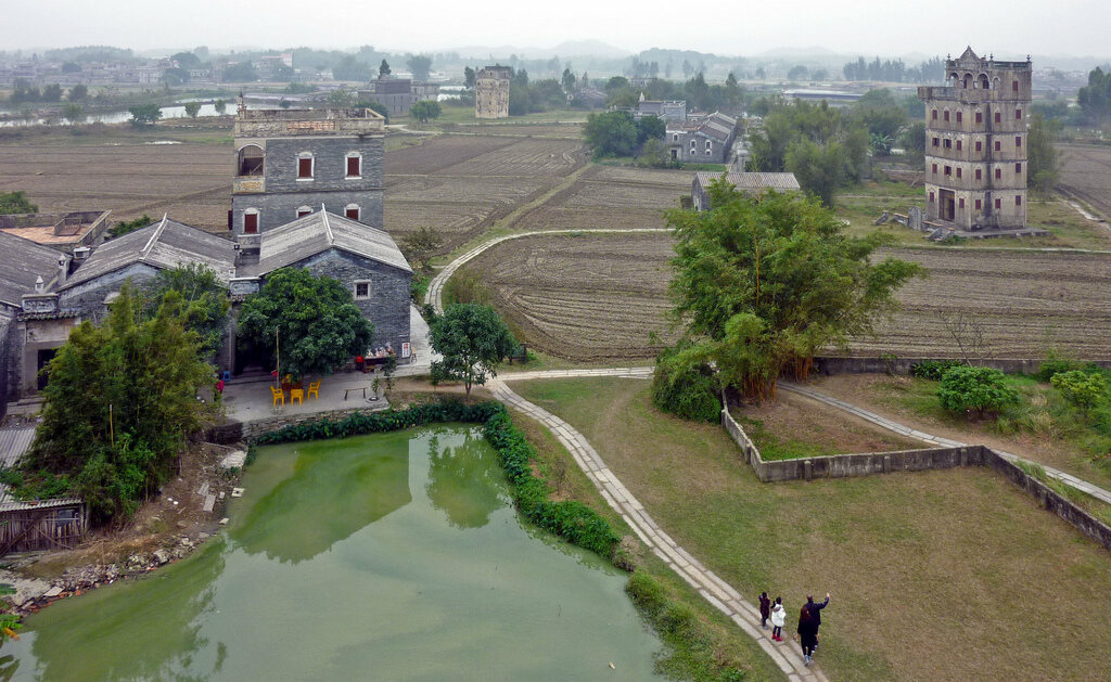 Watchtowers in Zili Village, near Kaiping, Guangdong Province, China.