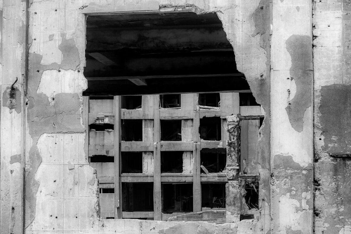 View through a concrete hole.