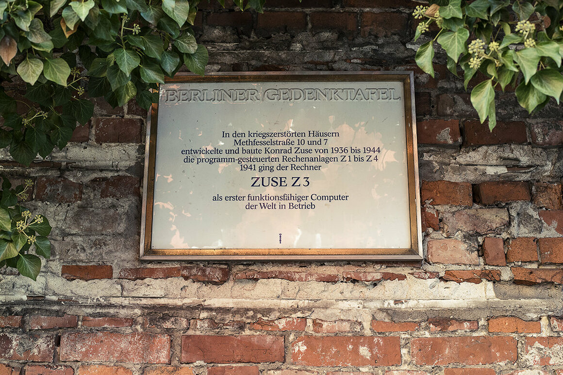 Commemorative plaque marks the place where Z3, the first programmable computer in the world, was created, now a vineyard.