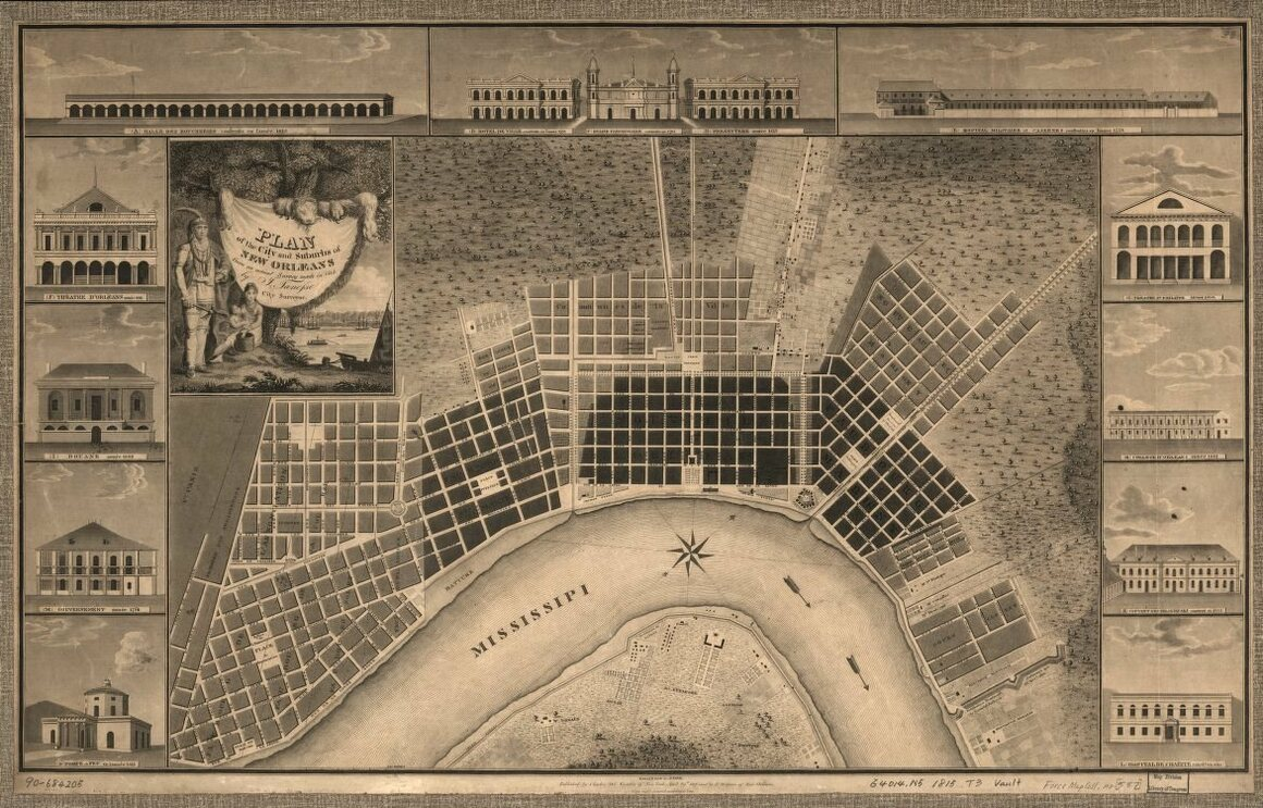 Map of New Orleans made from a 1815 survey.