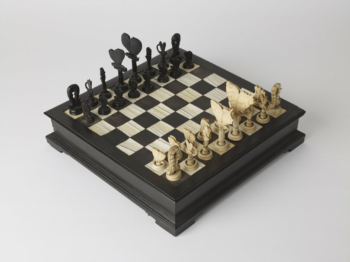 An insect chess board, created in Italy in the late 18th century.