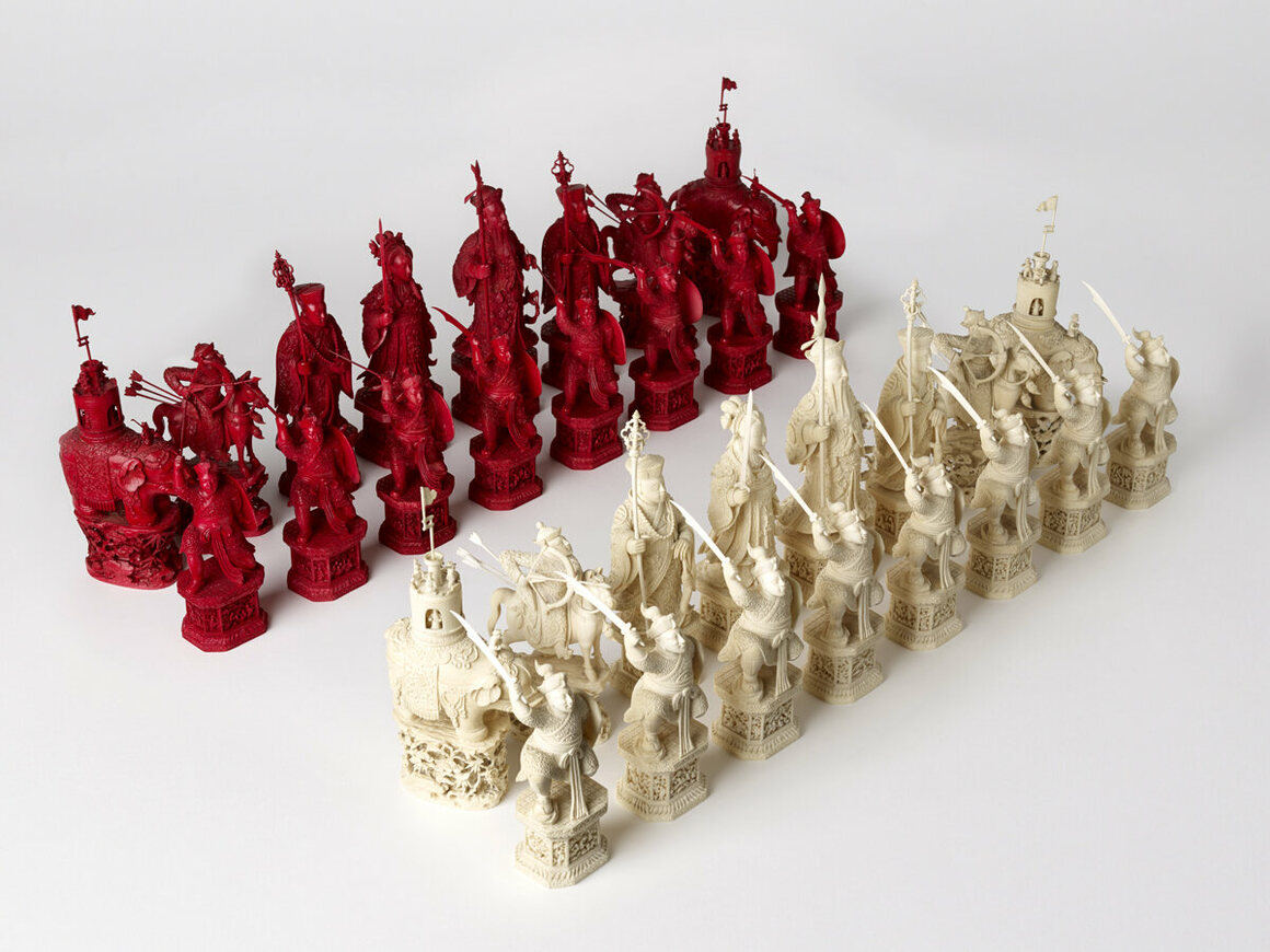 "An intricately carved ivory chess set, which has been called ""the most incomparable chess set in the world"", created in China in the late 18th century."