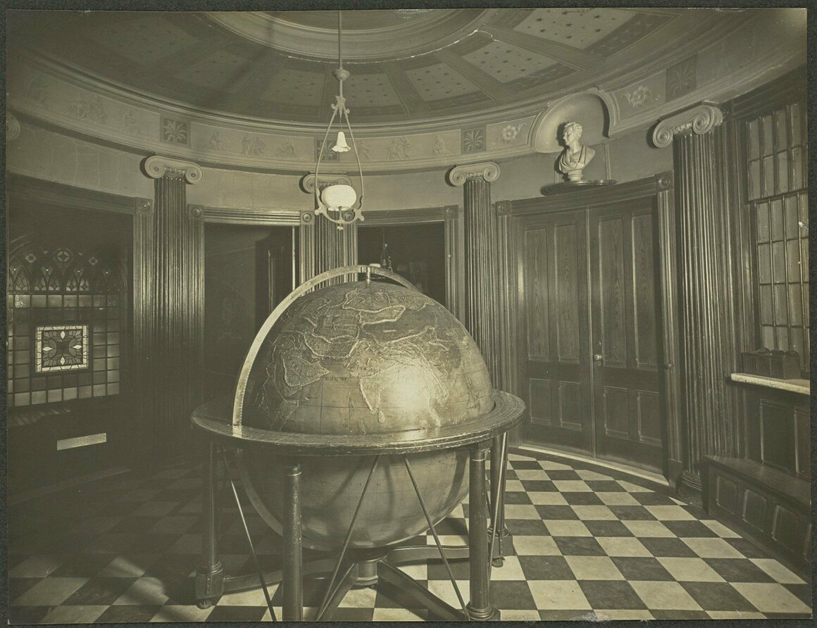 The Perkins Globe, photographed in the school's rotunda in 1900.