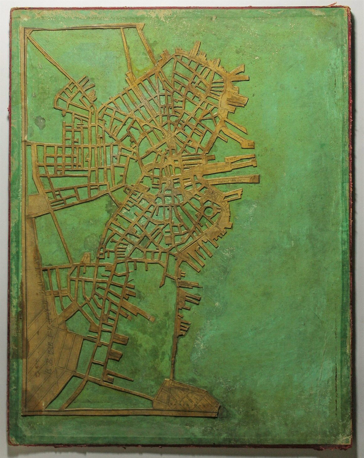 Stephen P. Ruggles's 1930 map of Boston, painstakingly made from a paper map and two wooden boards.