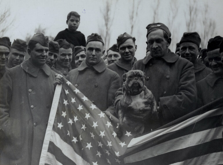 John Bull, the mascot of the 77th Aero Force, the first American troops to return to America from England. John Bull once belonged to an English Major-General.