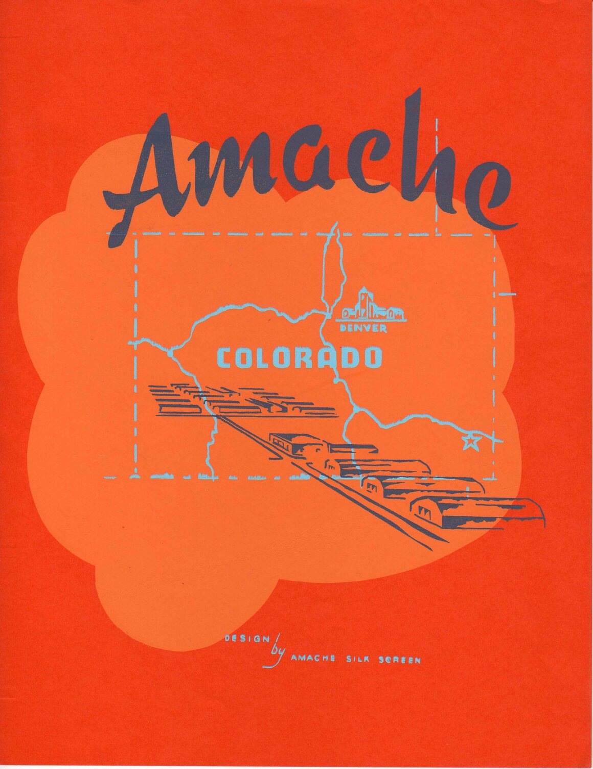 The cover of the Amache Camp brochure, made by the silk screen shop.