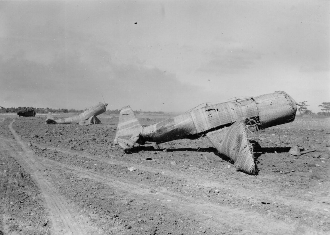 In Okinawa, these fake straw planes were innocently sitting along the edges of the airfields near Kadena Town. They caused many American pilots to send bursts of machine gun fire into them.