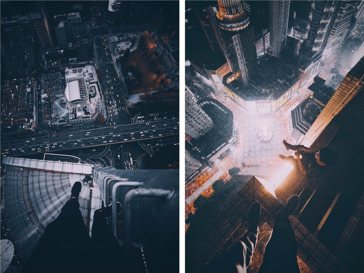 Looking down at a freeway from a lightning rod (left) and, right, cocoanext and a friend photographing and flying a drone over Shanghai.