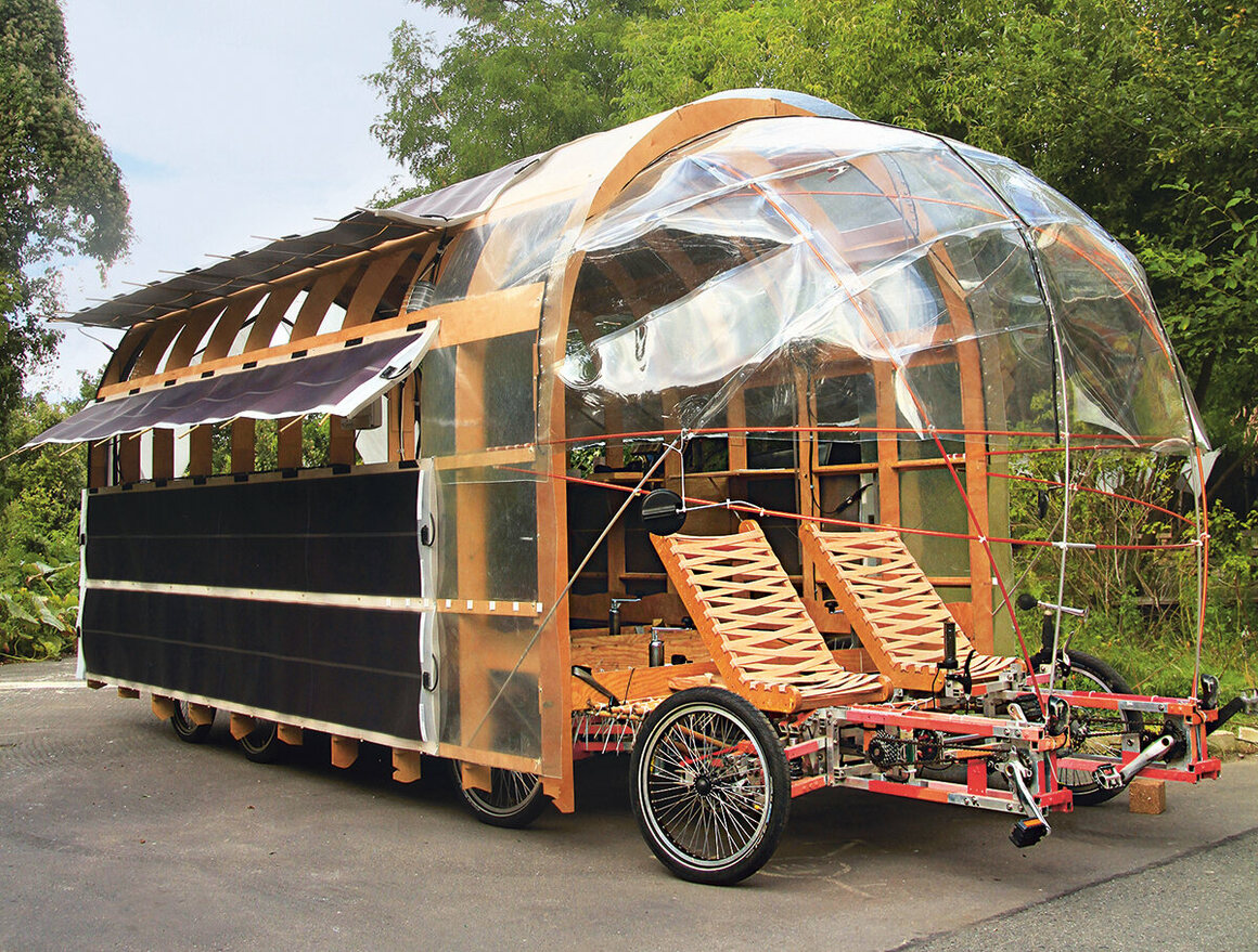 This cargo bike, called the 8rad2 Solar, has eight wheels, two drivers and can be used to transport cargo or as a mobile home. (Nico Jungel, Germany, 2015).