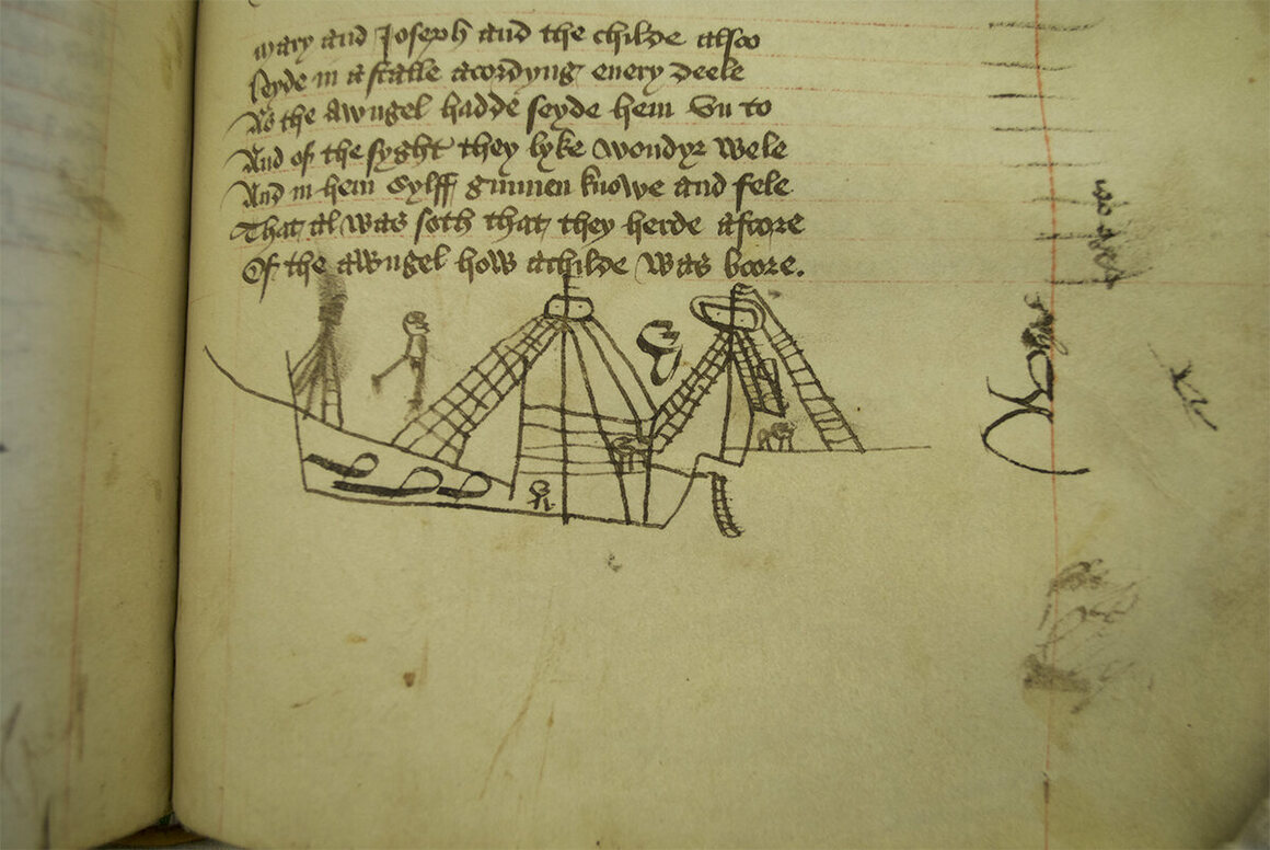 Doodles in <em>Life of Our Lady</em> appear to depict a ship with rigging.