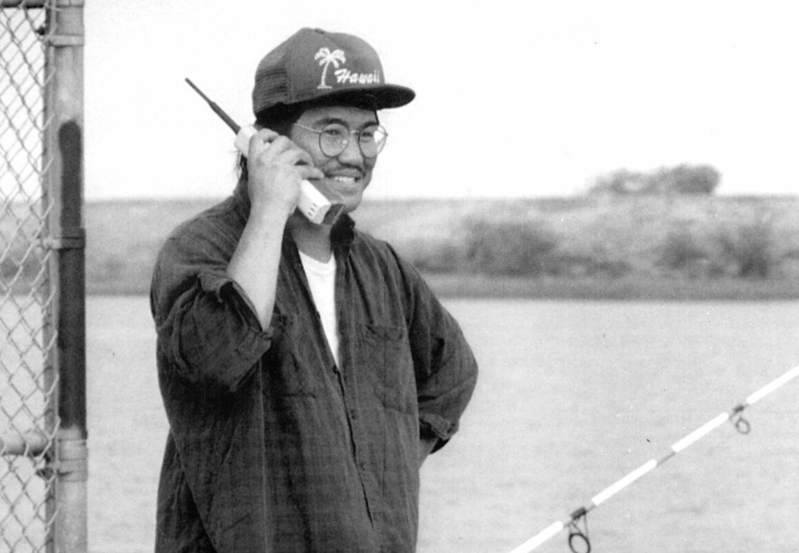 October 24, 1992: Ray Basa of Sunnyvale makes a call while fishing near Antioch.
