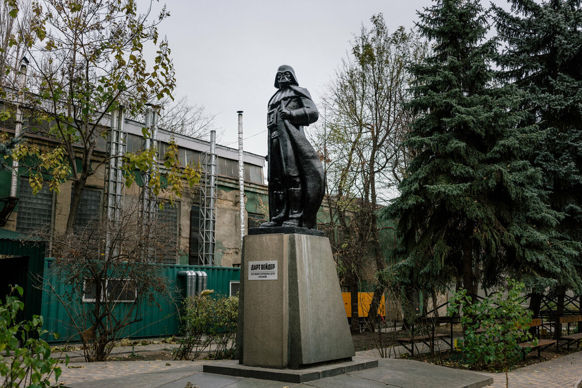 Ukrainian artist Oleksandr Milov transformed a Lenin statue into Darth Vader. It stands in a factory courtyard on the outskirts of Odessa. November 2015.