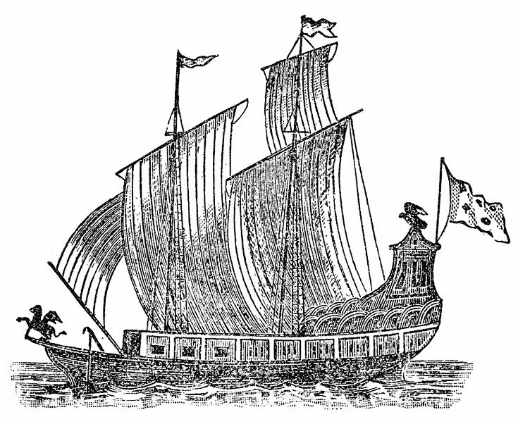 A woodcut of <em>Le Griffon</em>.