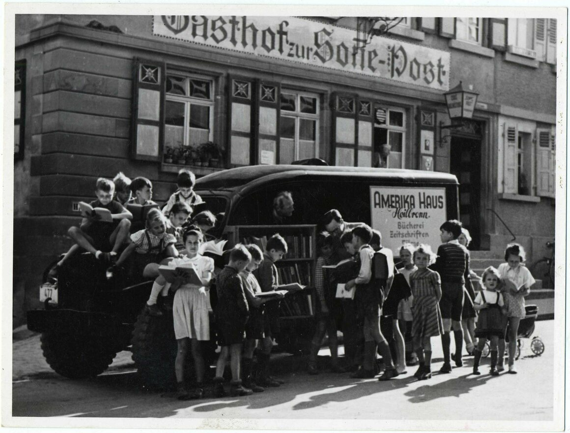 A bookmobile in Germany, late 1940s.