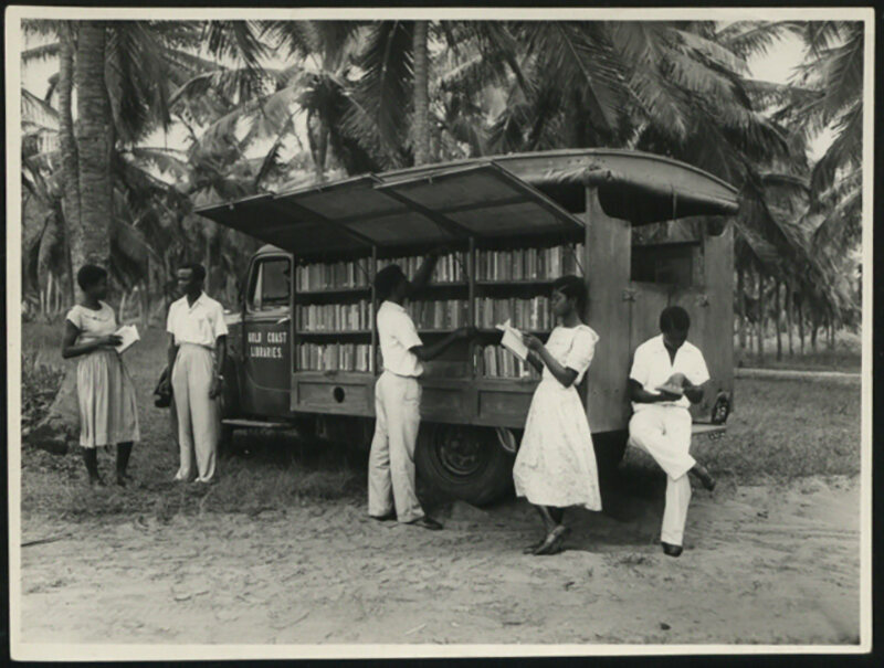 A bookmobile in Accra, Ghana, c. 1950s.