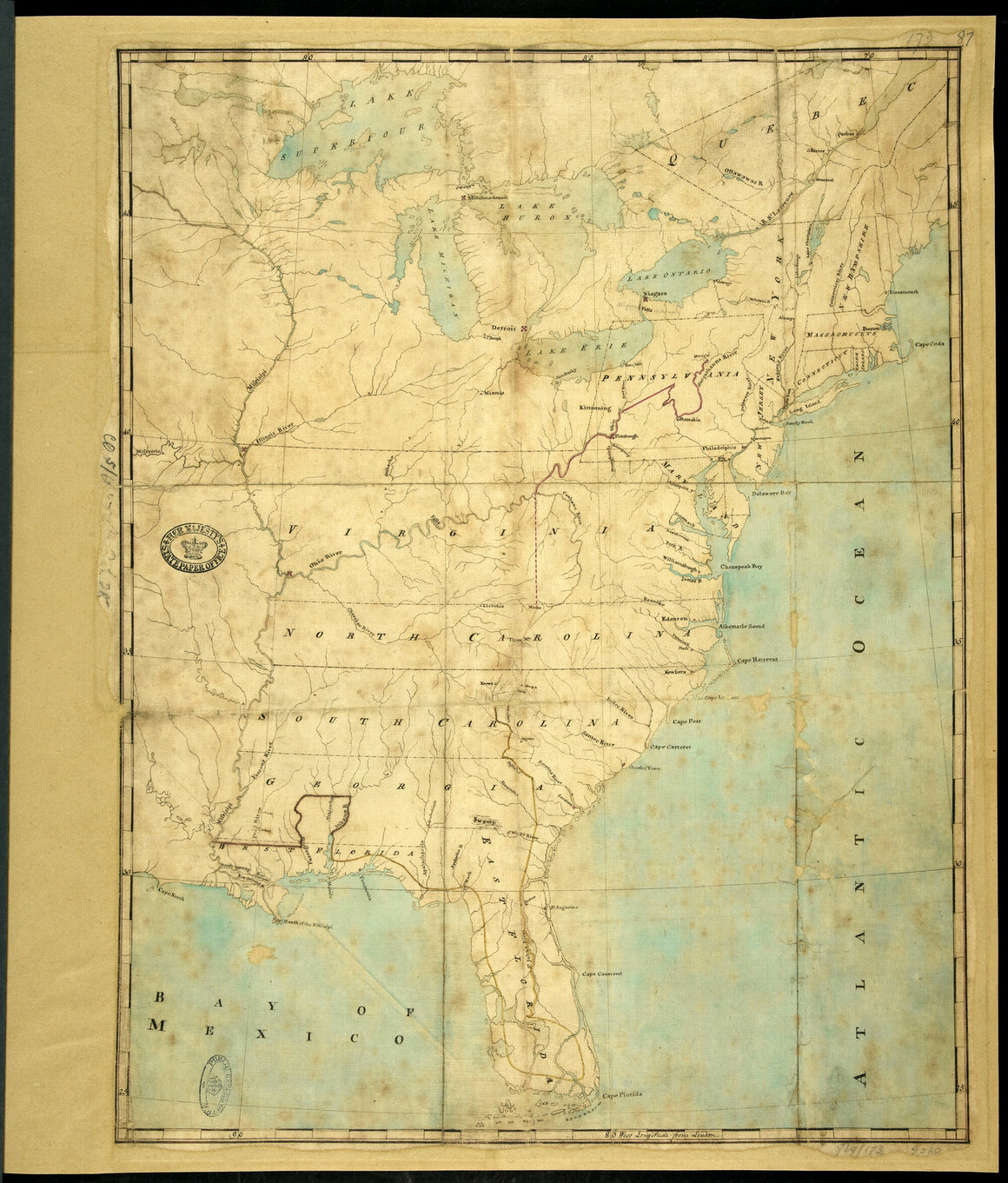 After five years of negotiations, government officials presented this map, showing the boundary lines between the British colonies and the country of the Six Nations and the Southern Indians, to the King of England, in 1768.