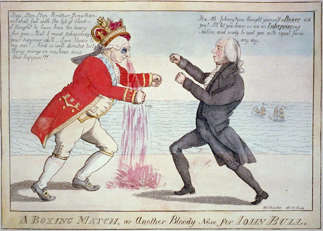 A boxing match between Brother Jonathan and John Bull.
