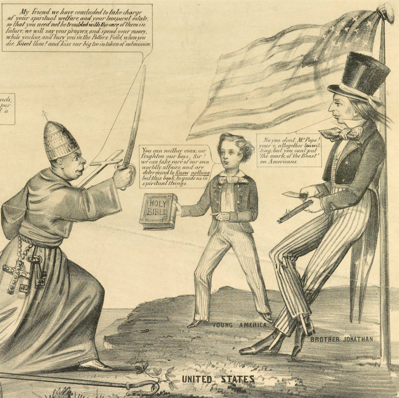 Detail from an anti-Catholic cartoon from the 1850s showing Brother Jonathan's nativist tendencies.