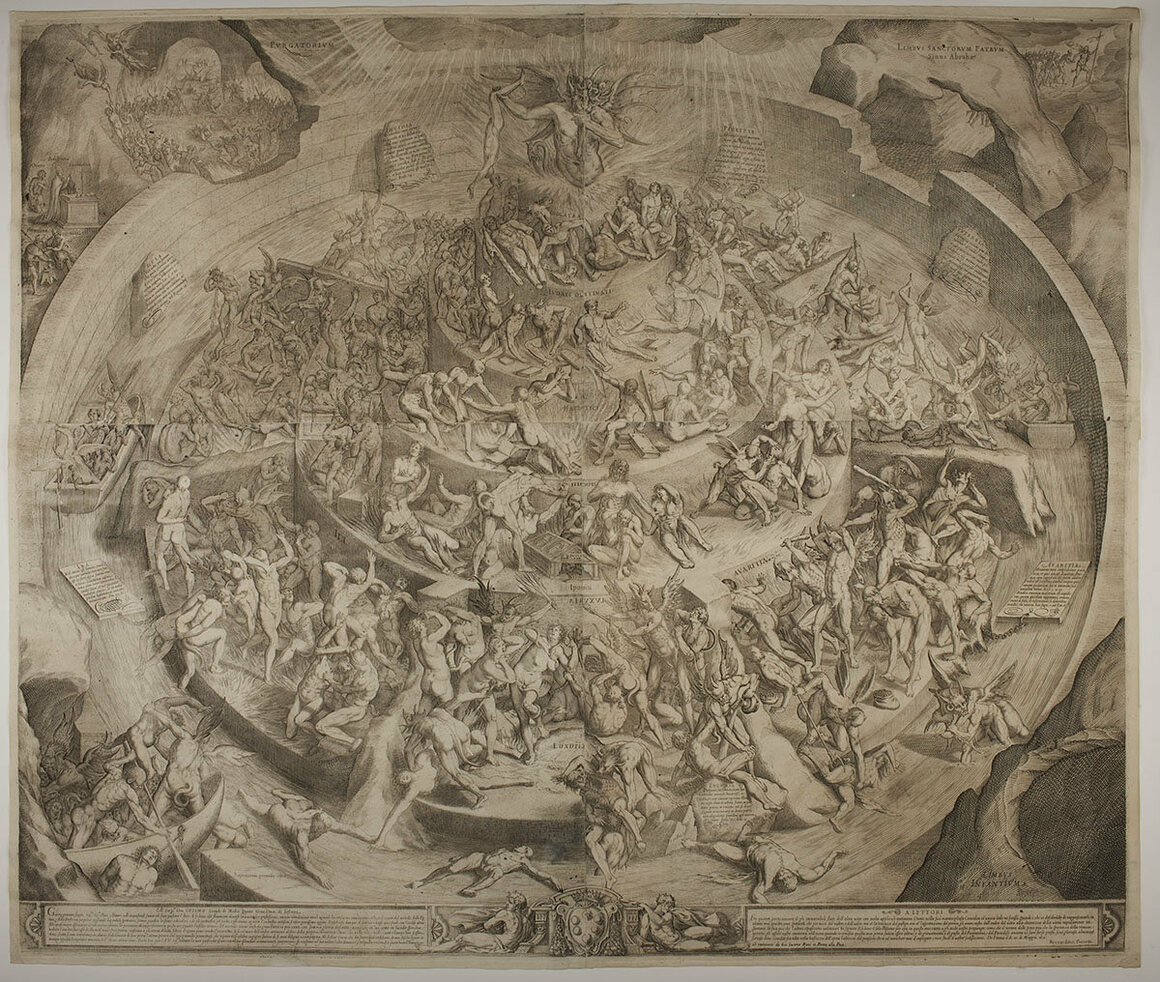 A more illustrative version of Hell by Jacques Callot, 1612.