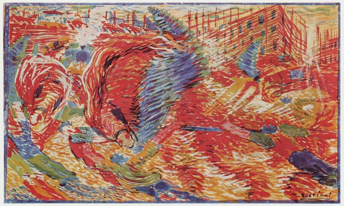 "Umberto Boccioni, ""The City Rises,"" 1910."