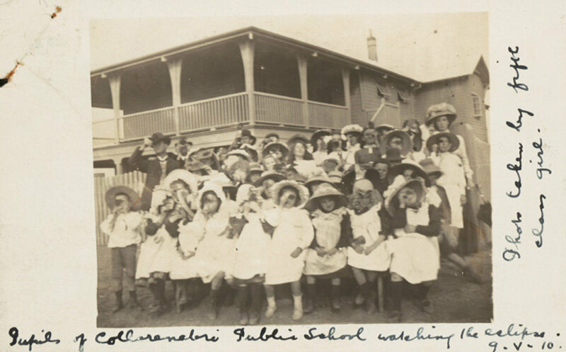 Children from the Collarenebri Public School watch the eclipse over New South Wales, Australia, 1910.
