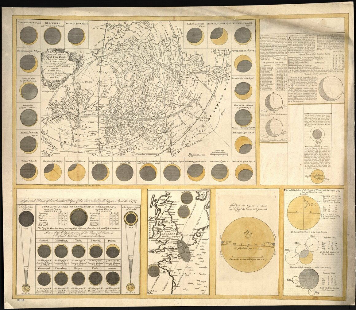 """The geography of the great solar eclipse of July 14 MDCCXLVIII: exhibiting an accurate map of all parts of the Earth in which it will be visible, with the North Pole, according to the latest discoveries,"" 1748."
