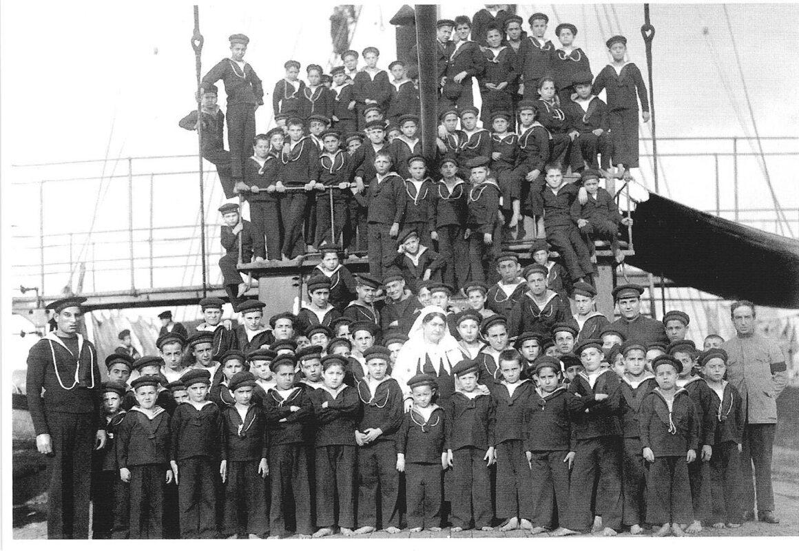 "In uniform on the ""kindergarten ship."""