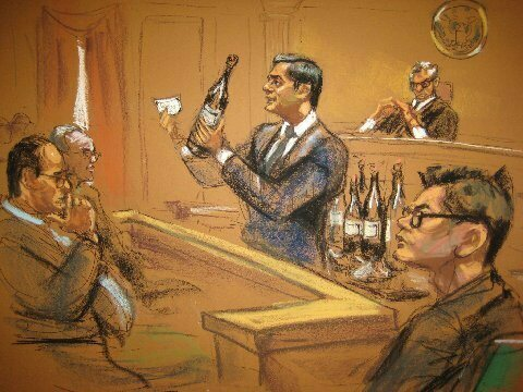 Jane Rosenberg's 2013 illustration of the trial of wine counterfeiter Rudy Kurniawan.