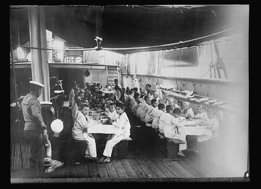 Dinner on board <em>Caracciolo</em>.