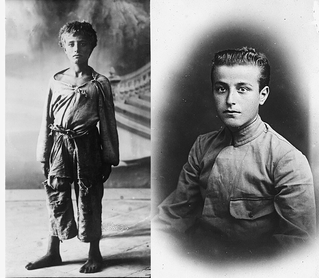 Giovanni Petrella, when taken aboard <em>Caracciolo</em> (left) and after. He later became a sailor on SS <em>Brazile</em>.