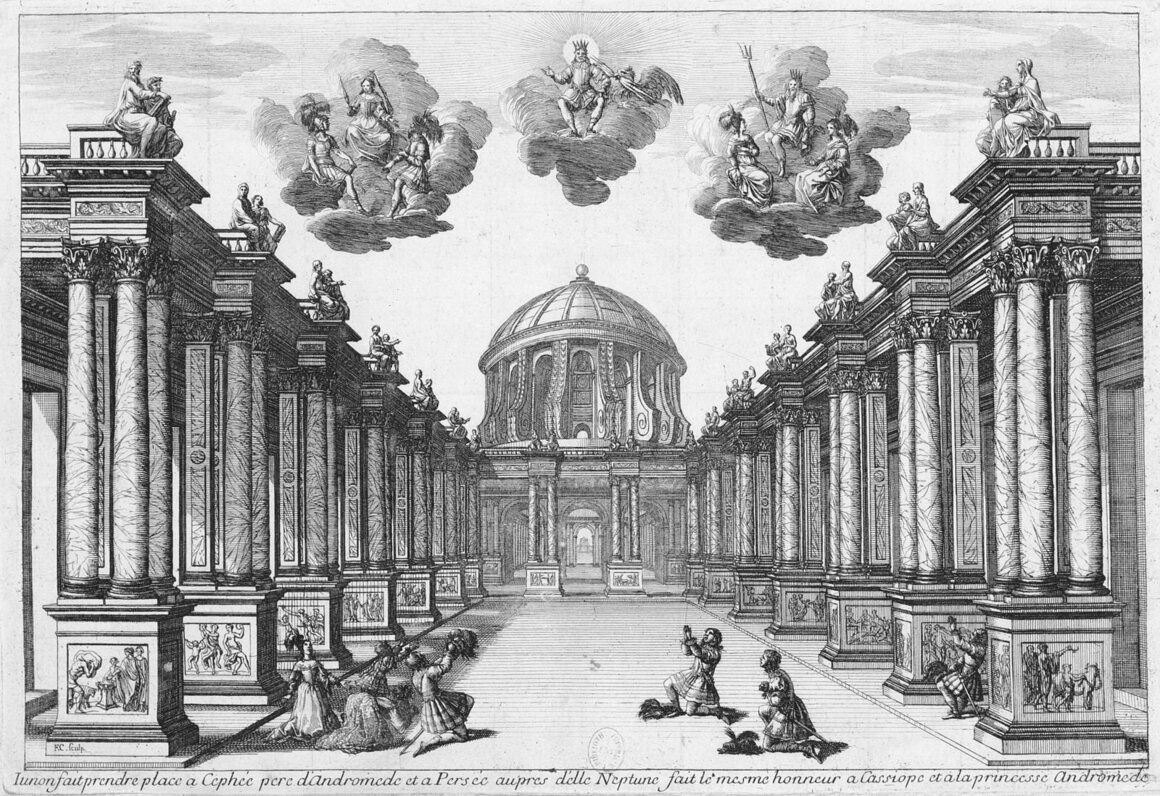 A scene from Act 5 of <em>Andromeda</em>, displaying Torelli's unique use of perspective.