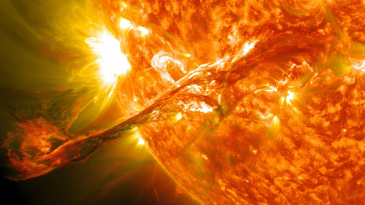 Composite image of a solar flare, 2012.