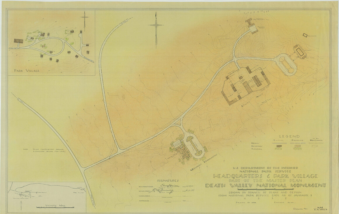 A map showing the headquarters and park village at Death Valley National Monument, from the 1937 Master Plan.