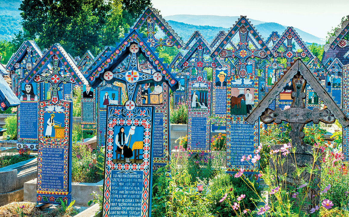 Markers in Merry Cemetery in Romania include poems about the deceased.