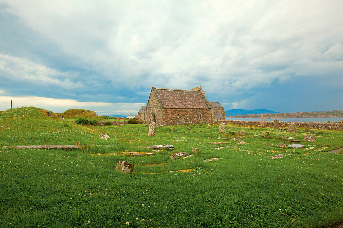 Reilig Odhrán is a graveyard on the Isle of Iona in Scotland's Inner Hebrides. In the 16th century, the site was determined to have held 48 Scottish, eight Norwegian, and four Irish kings.
