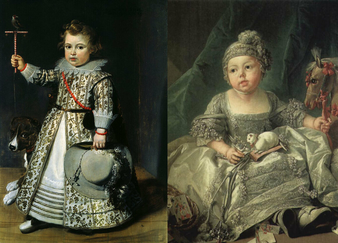 A 17th-century portrait (left) indicates the child's gender through the dagger at his hip and the hat in his hand. Louis Philippe II, Duke D'Orléans, as a child (right).